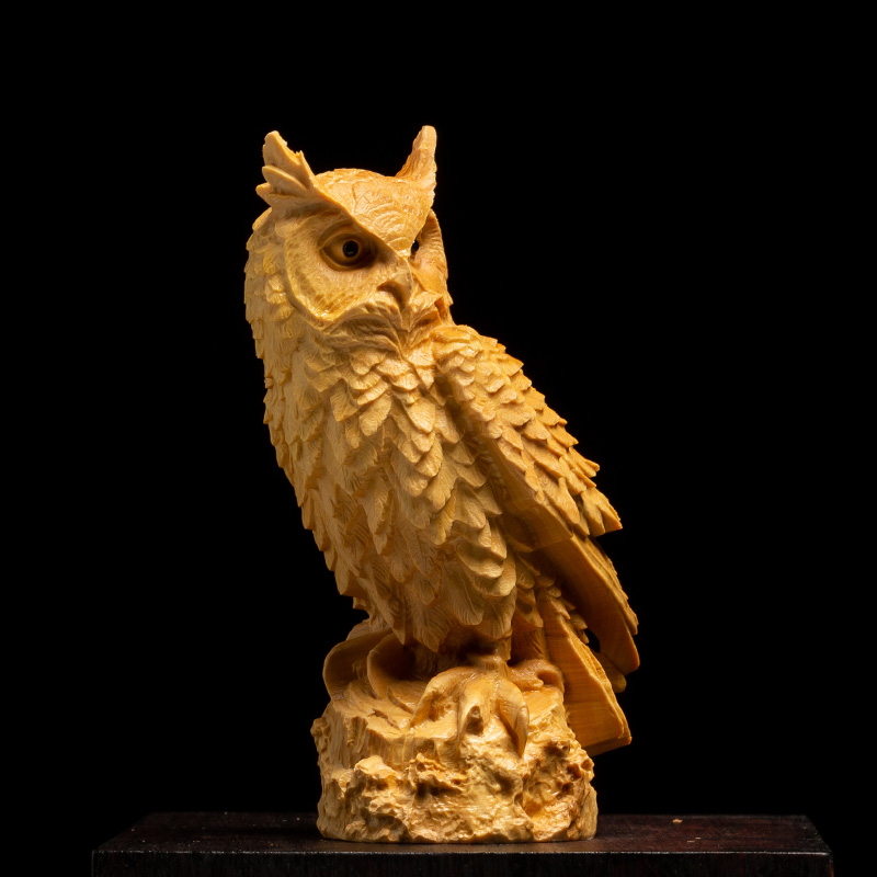 Simulated Carved Wood Owl with Back Lit LED Figurine
