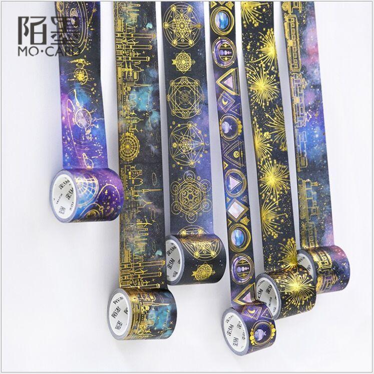 Gold Foil Stamping Magic Universe Starry Sky Interstellar Orbit Decoration Planner Washi Tape DIY Diary Scrapbook Masking Tape