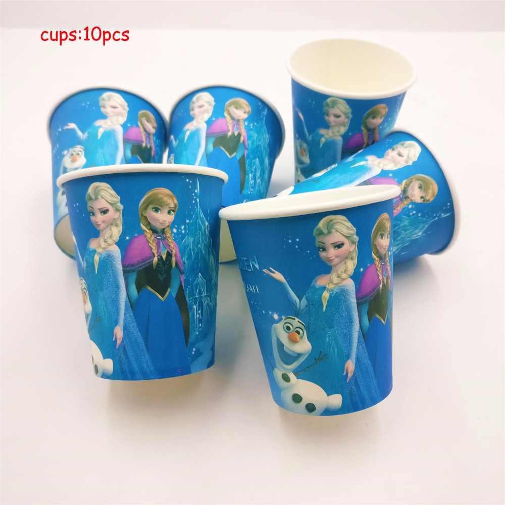 82 pçs/set Disney Congelado Elsa Anna Festa De Aniversário Decoração Crianças dom Conjuntos de Talheres Descartáveis Fontes Do Chuveiro de Bebê Favorece Menina