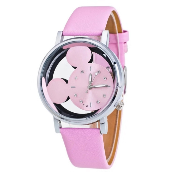 2019 Hot Kids Cartoon Mickey Watch Double Hollow Water Drill Scale With Creative Students Quartz Watch Men's And Women's Watches