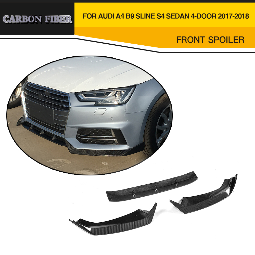 Carbon fiber & FRP Car Front Lip Bumper Spoiler For Audi A4 B9 SLINE S4 Sedan 4 Door 2017 2018