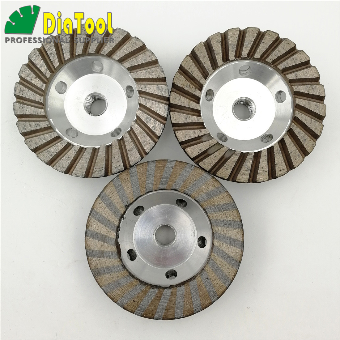 DIATOOL 3pcs Diameter 100mm Aluminum Based Grinding Cup Wheel 5/8-11 Thread 4 inch Diamond Grinding disc Cutting Granite marble [m14 thread] 5 ncctec diamond aluminum matrix sintered grinding disc 125mm stone turbo grinding cup wheel free shipping