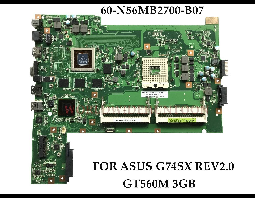 High quality 60-N56MB2700-B07 for ASUS G74S G74SX laptop motherboard G74SX REV2.0 Mainboard 2D connector GT560M 3G 100% Tested