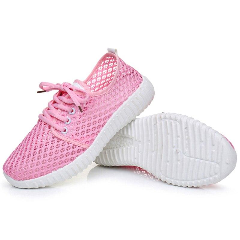 Tenis Feminino Chaussures rose Maille blanc Mocassins Solide Sur Printemps Femme Noir Corée Dame 2018 7n0456 Femmes Creux Style Glissement Respirant qUx6FSZEn