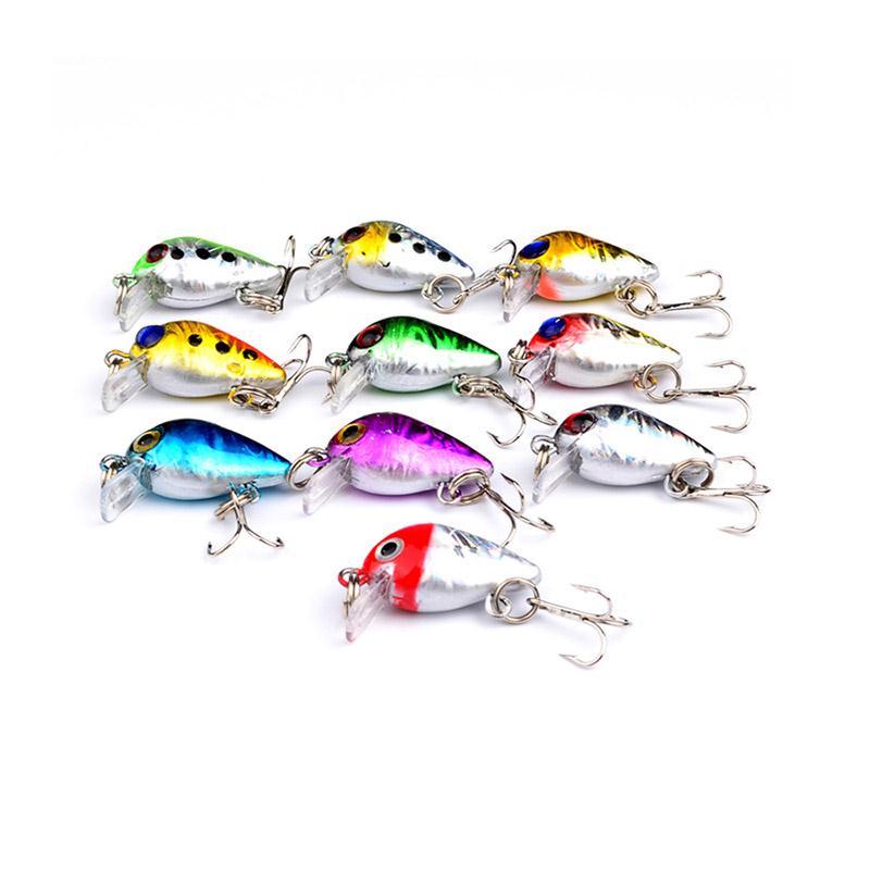 NEW 10pcs Bronzing Mini Fishing Lure Floating Micro Bass Bait CrankBait Treble Hooks wldslure 1pc 54g minnow sea fishing crankbait bass hard bait tuna lures wobbler trolling lure treble hook