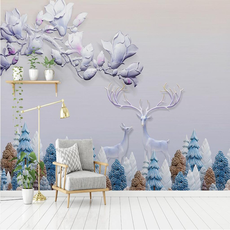 3D Wall Mural Forest Photo 3D Stereoscopic Wallpapers Modern Style Wall Murals Forest Elk Painting 3D Wallpaper Decorative Mural sunflower 3d wallpapers 3d wall murals non woven fabric eco friendly durable entrance hallway 3d stereoscopic wallpapers decor