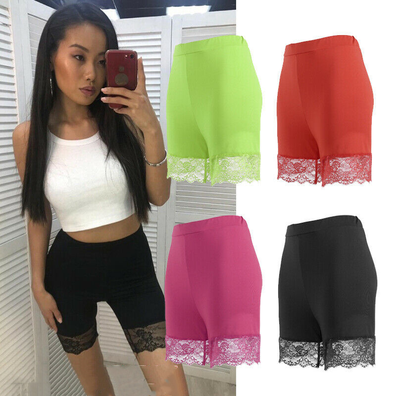 2019 Women Lace High Waist Shorts Under Solid Color Shorts Stretchable Seamless Underwear Skinny Shorts 4Colors Plus Size