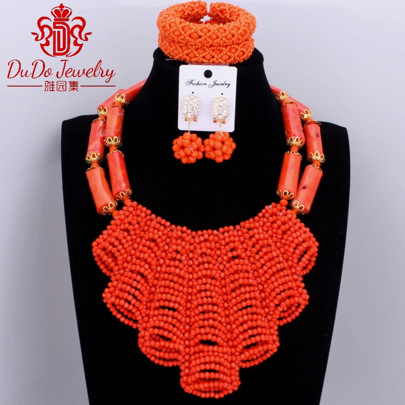 Gorgeous Nigerian Wedding African Beads Coral Jewelry Sets Dubai Christmas Costume Jewelry Set For Bride Party Crystal Beads Set gorgeous faux crystal beads anklet for women