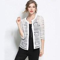 2017 Plus Size Wome Abbigliamento 5XL 4XL Signore Pizzo Bianco camicetta di Estate Cardigan Cappotto Nero Crochet Sexy Camicia Camicetta Femminile 8095