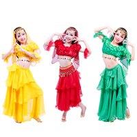 2015 Children Girls Kids Dance Clothes 5 Piece Top Cake Skirt Waist Chain Veil Sleeve Arm