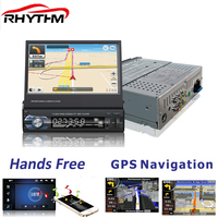 Ритм 1 DIN 7 дюймов стерео радио MP4 gps навигации touch Экран USB Bluetooth TF FM камера заднего вида suppored выдвижной
