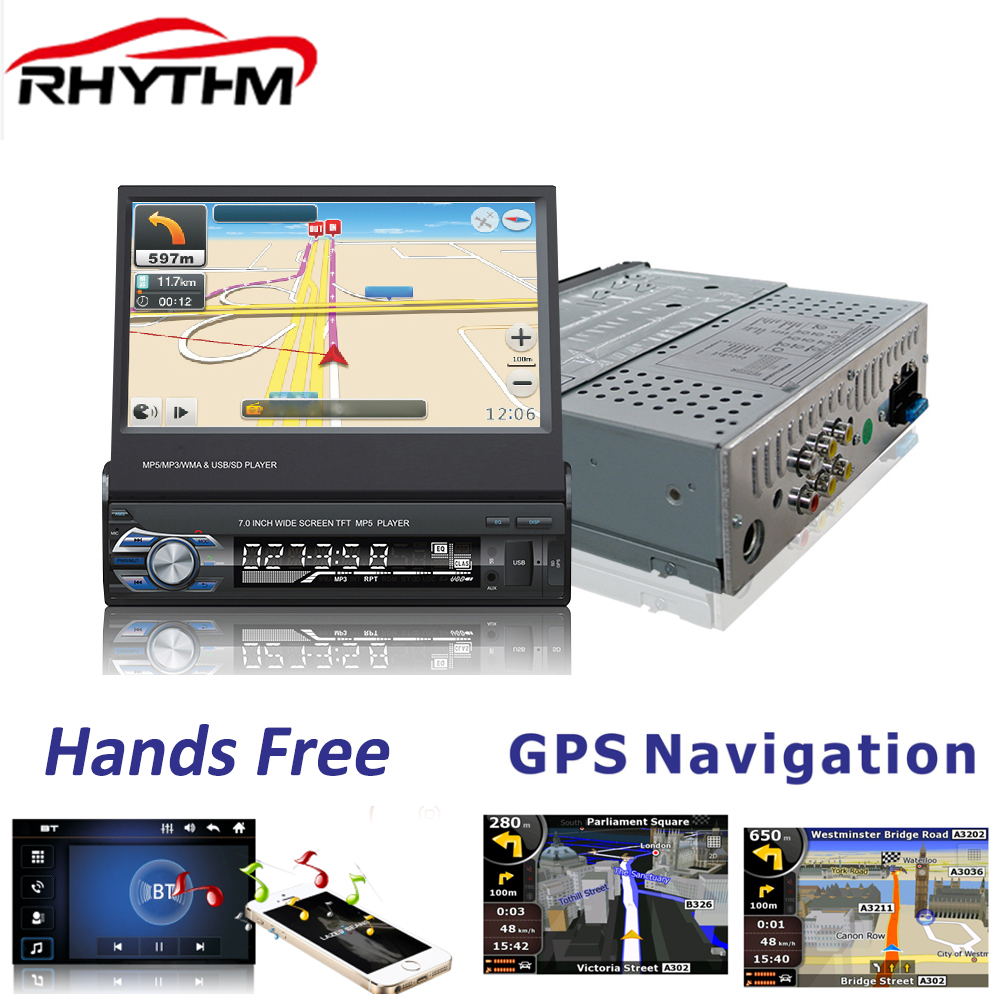 Rhythm 1 DIN 7 inch Stereo Car Radio MP4 GPS Navigation touch Screen Bluetooth TF USB FM rear camera suppored Retractable