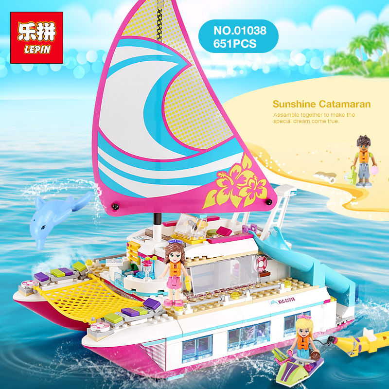 Lepin 01038 Friends Girl Series Building Blocks toys Sunshine Catamaran kids Bricks toy girl gifts Compatible Legoinglys 41317 jacques lemans london 1 1844h