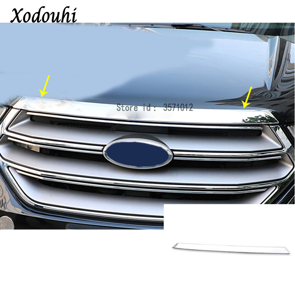 For Ford EDGE 2015 2016 2017 car ABS Chrome front engine Machine grille grill upper hood stick lid trim lamp hoods 1pcs for nissan x trail xtrail t32 rogue 2014 2015 2016 abs chrome front engine machine grille upper hood stick lid trim lamp 1
