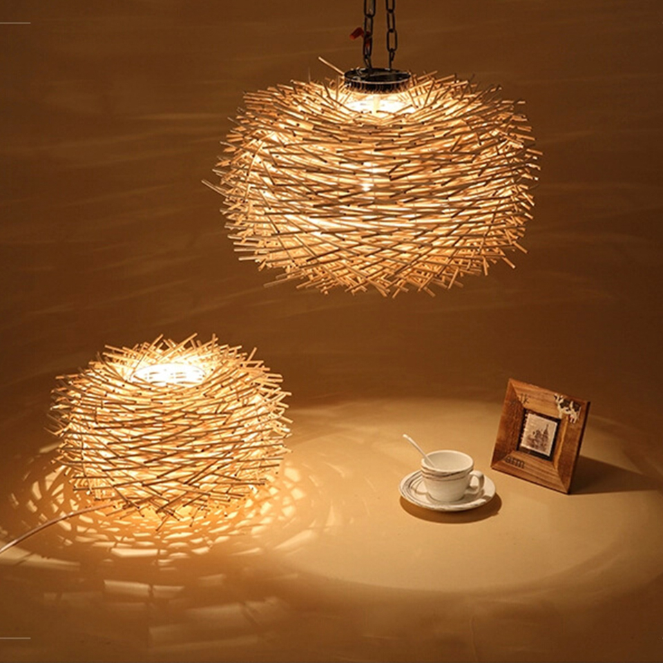 Nordic Hand Woven Cany Art Creative Lamp Wood Lamps