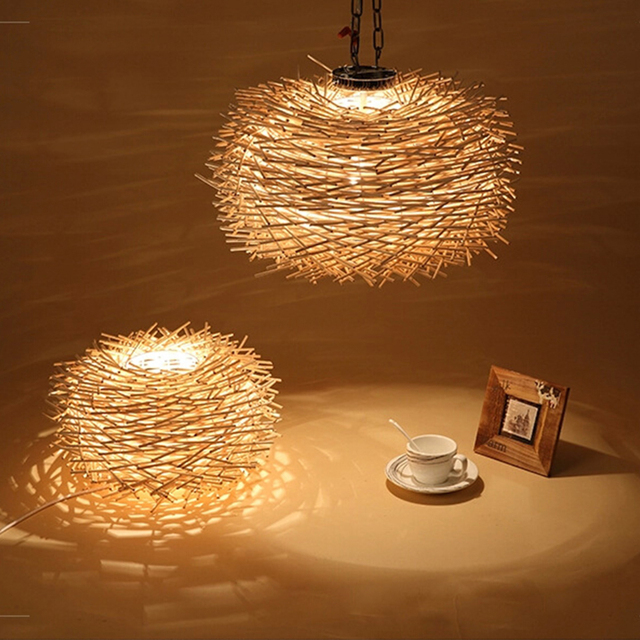 Nordic Hand Woven Cany Art Creative Lamp Wood Lamps Lighting E27 Novelty  Nest Bird Cage