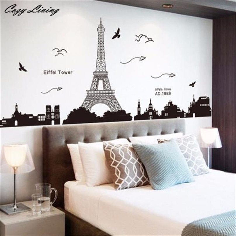 Wallpaper Sticker Bedroom Paris Eiffel Tower Removable Decor Environmentally Mural Wall Stickers Decal Murals D15 In From Home