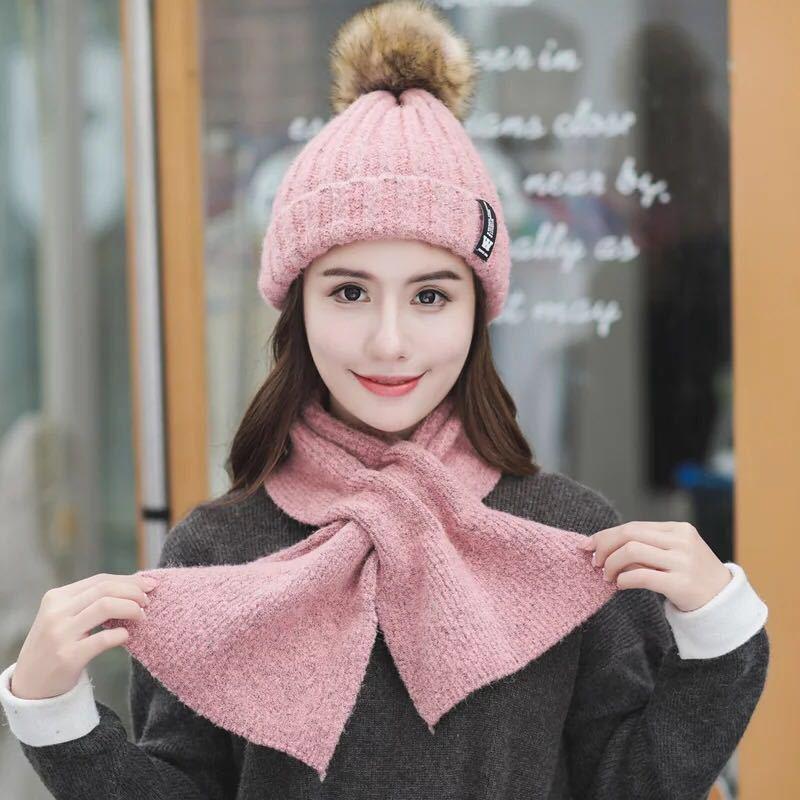 2 Stücke Frauen Winter Warme Schal Hut Set Solide Pompoms Gestrickte Mützen Caps Hut Und Schals Weiche Casual Weibliche Winter Schal Hut Kits