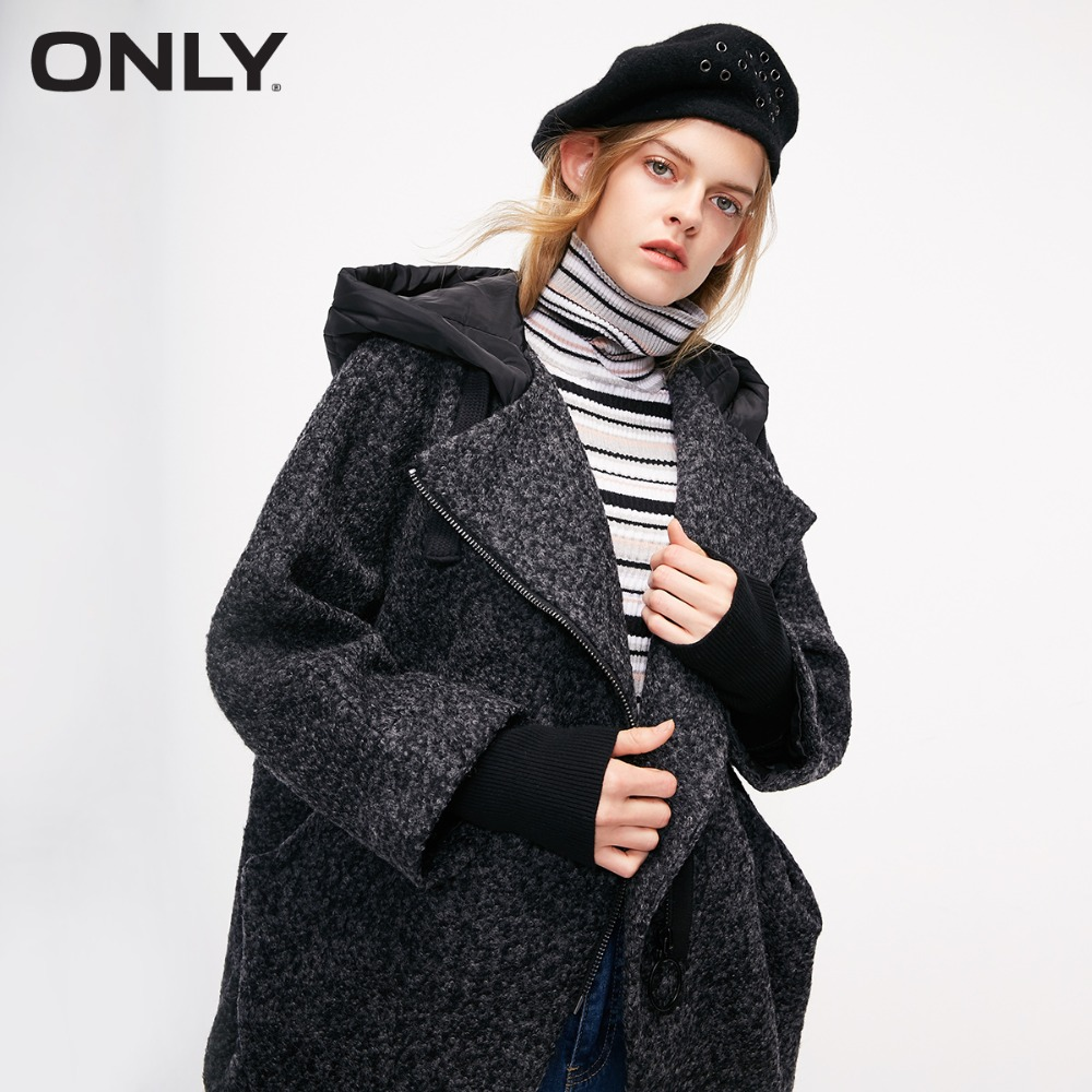 ONLY Women's Hooded Wool Coat Quilted Drawstring Hood Diagonal Zip Front  |11836T501