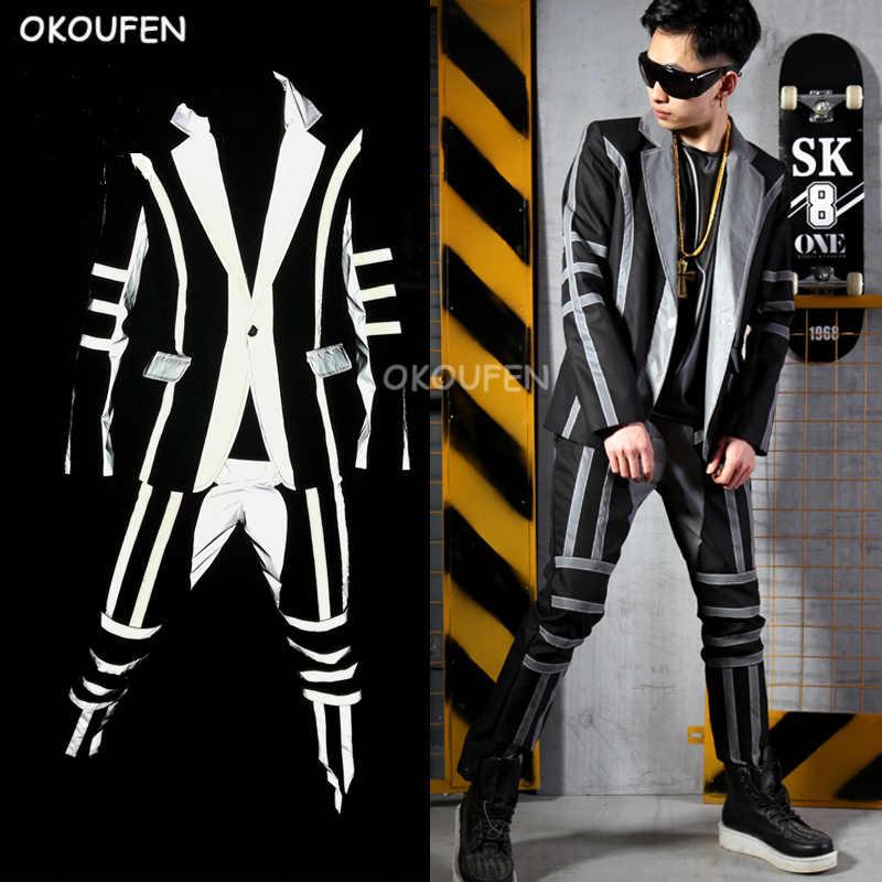 Klub Malam Pria Penyanyi DJ Reflektif Blazer Kostum Fashion Keren Pria Cocok untuk Penata Rambut Kostum Panggung