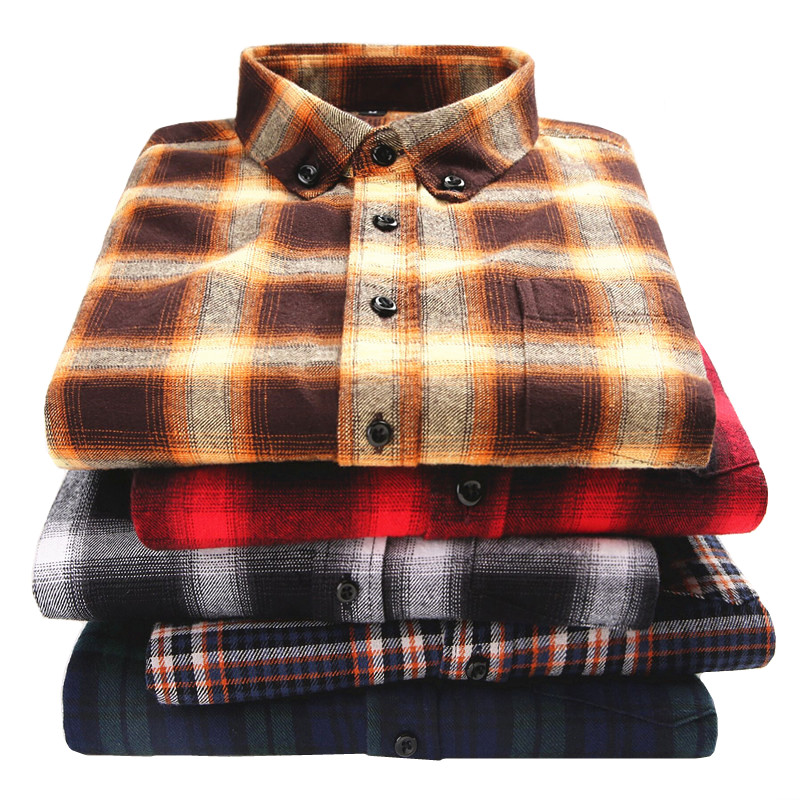 High Quality Men Flannel Plaid Shirt Fashion Casual Soft Comfort Long Sleeve Male Shirts 100% Cotton Collar Buckle Design