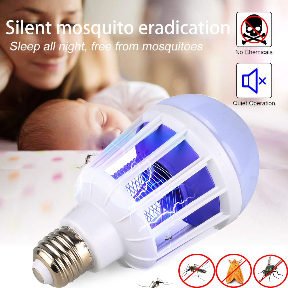 2 In 1 LED Mosquito Killer Lamp 220V 15W LED Bulb Bug Zapper Lamp Insect Mosquito Repeller Night Lighting Killing Fly Bug Light