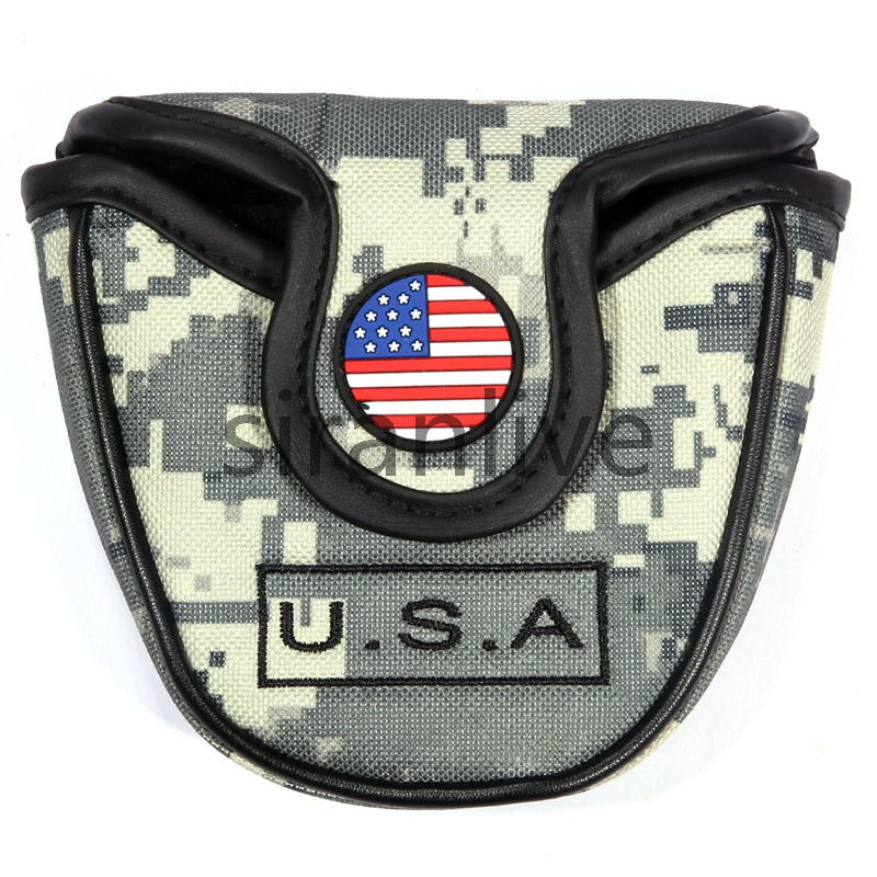 USA Flag Nylon Golf Mallet Putter Cover Headcover Protector Bag & Magnetic Closure Golfer Club Supplies