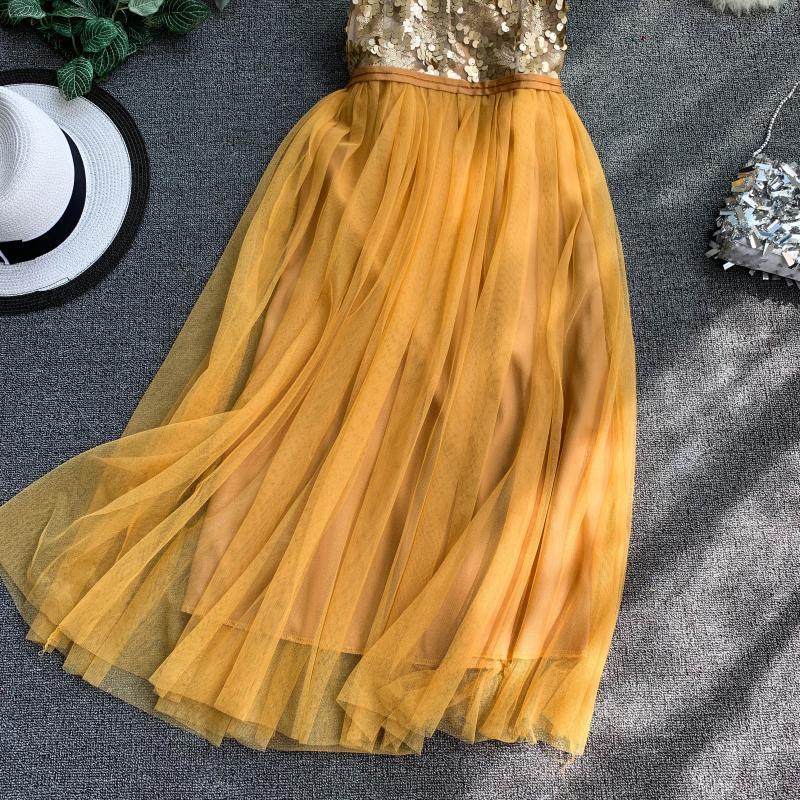 V-Neck Sequins Backless Sleeveless A-line Dress 13