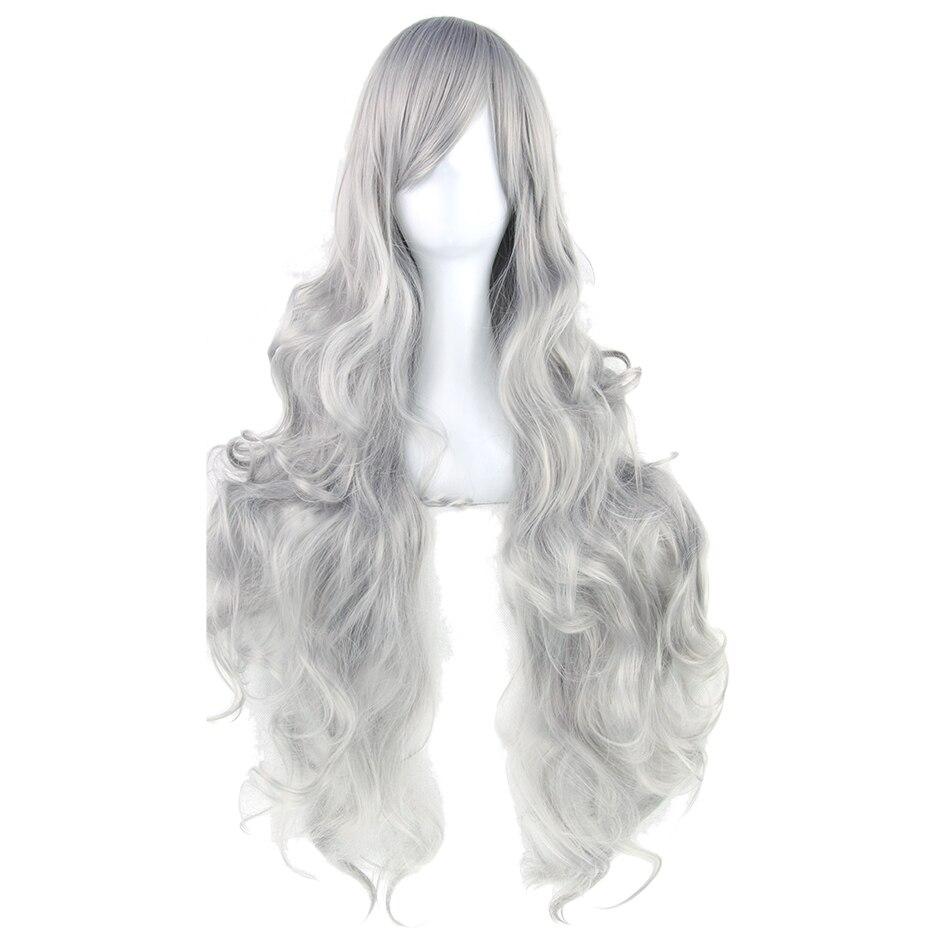 Soowee 20 Farben 80 cm Langen Lockigen Frauen Hitzebeständige Synthetische Haar Blonde Grau Partei Cosplay Perücken