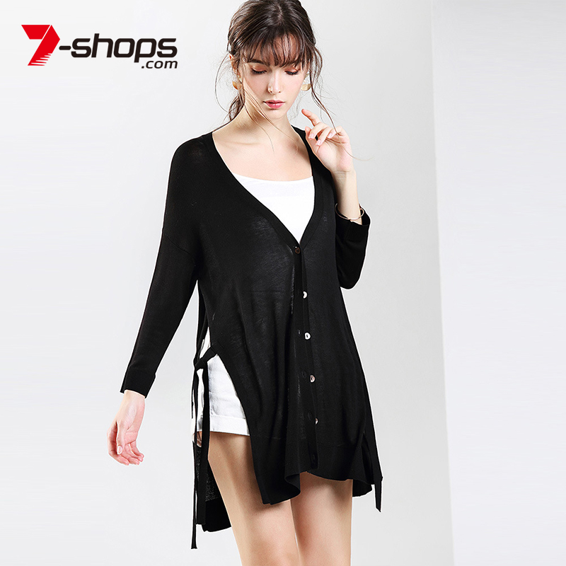 7-Shops AB0114 V-neck Long Sleeve Women Cardigans Lace Up Knitted Women Sweater Button Thin Female Coat Spring Cardigan 2018