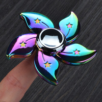 Colorful Bauhinia Flower Hand Spinner Fidget Spinner Painted Finger Toys Rainbow Color Anti Stress Metal Alloy