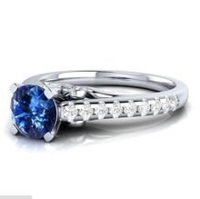 Huitan Classic Ring Band Standard Four Prong Finger With Micro Paved Wedding Clear Blue Stone Setting Jewelry