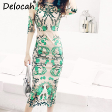 Delocah Autumn Women New Dress Runway Fashion Designer Half Sleeve Gorgeous Embroidery Lace Knee-Length Slim Lady Dresses