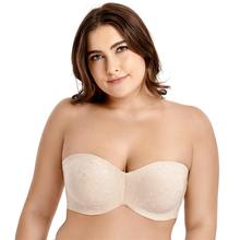 Womens Full Coverage Floral Jacquard Non padded Underwire Minimizer Multitway Strapless Bra