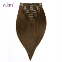 YILITE Clip In Human Hair Extensions 8 Pieces/Set 18inch 4# Russian Remy Clips in Brown Straight Hair Weft Extensions 130g