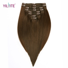 YILITE Clip In Human Hair Extensions 8 Pieces/Set 18inch 4# Russian Remy Clips in Brown Hair Silky Straight 130g Free shipping