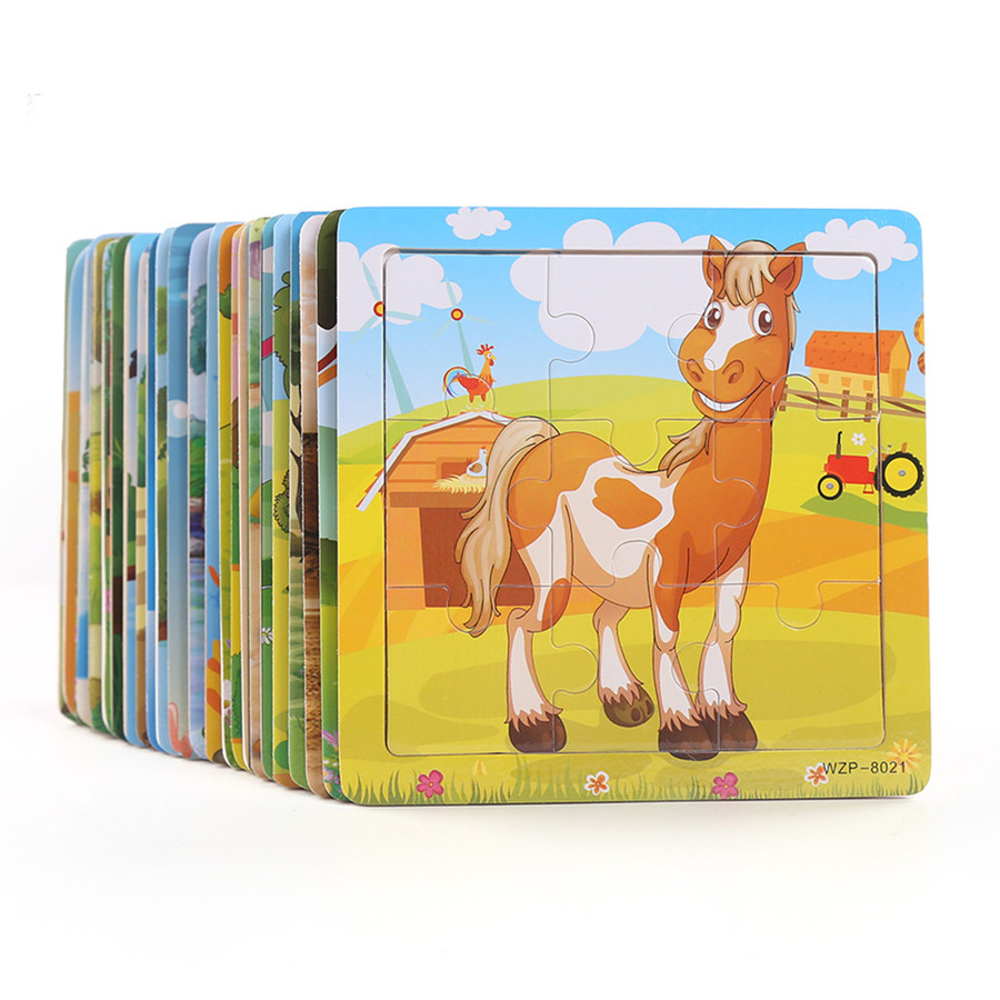 New Arrive Wooden 9 Pieces Of Cartoon Animals Puzzle Early Childhood Education Wooden Toys LL97