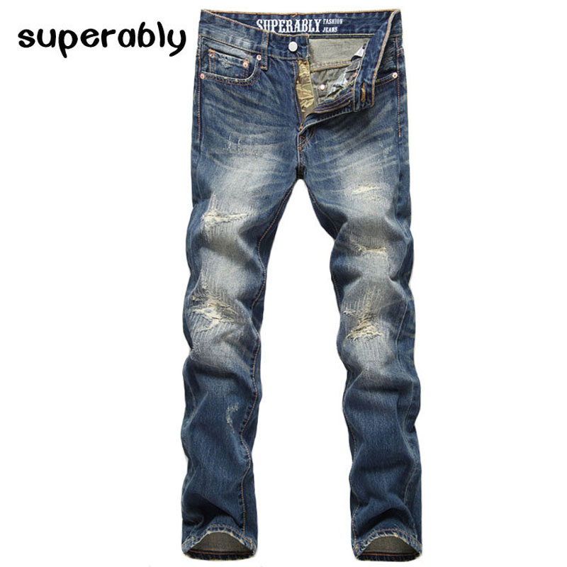Fashion Men's Jeans High Quality Ripped Jeans For Men Denim Pants Superably Brand Classic Vintage Jeans Men Brazil Free Shipping classic mid stripe men s buttons jeans ripped slim fit denim pants male high quality vintage brand clothing moto jeans men rl617
