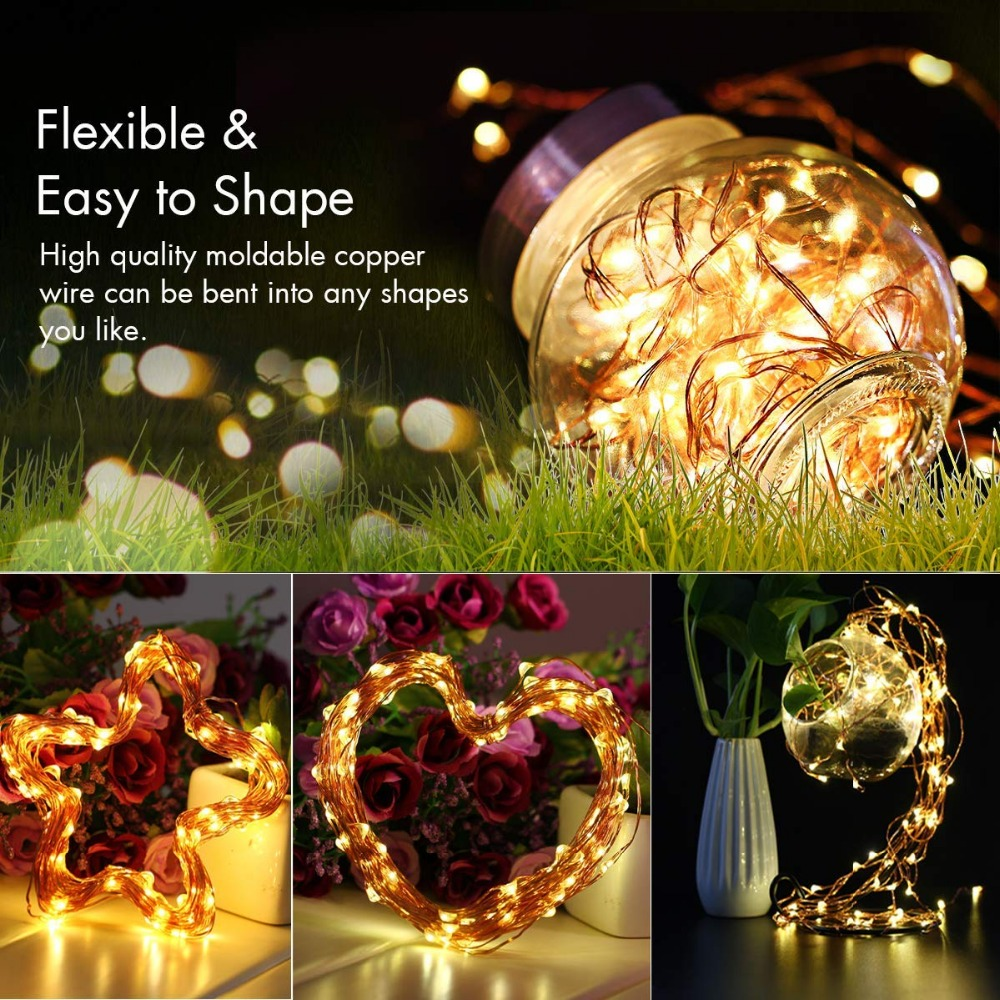 2M 5M10M Strip Light Led String Light Cooper Wire 3AA battery Christmas Light For Garland Holiday Fairy Wedding Party Decoration 6