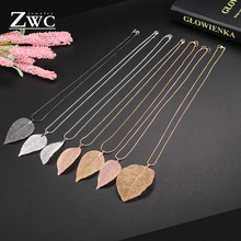 ZWC  Fashion Charm Maxi Design Leaf Pendant Necklaces For Women Girl Wedding Party Silver Long Necklace Jewelry Gift Wholesale