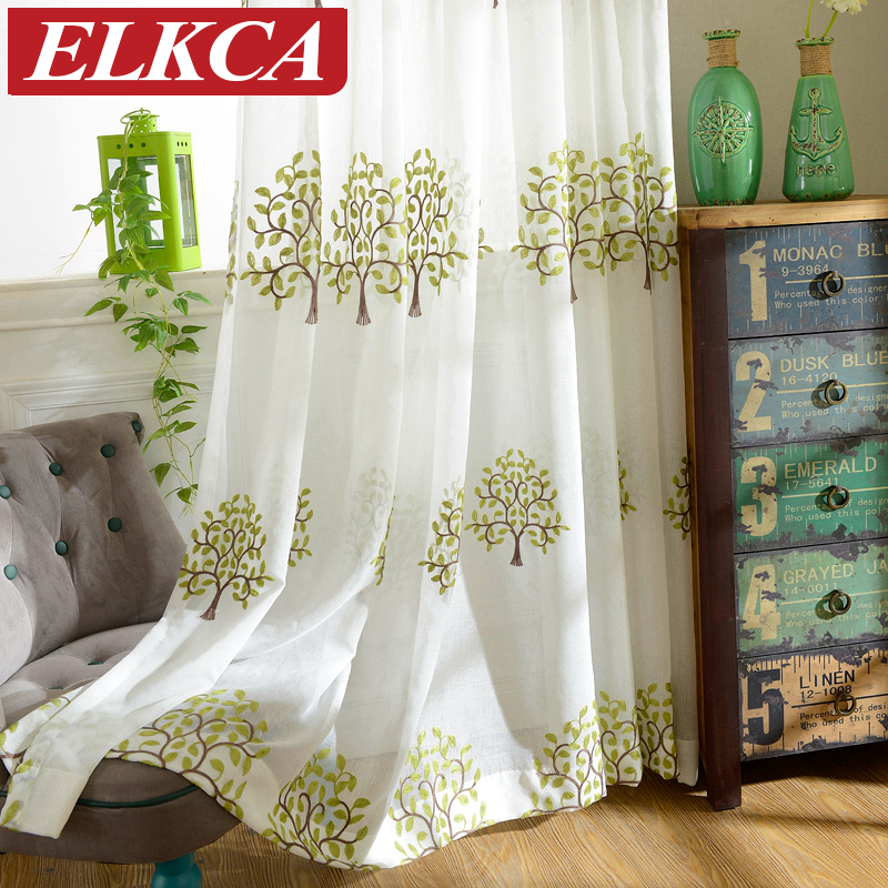 Korean Faux Linen Green Tree Embroidered Voile Curtains
