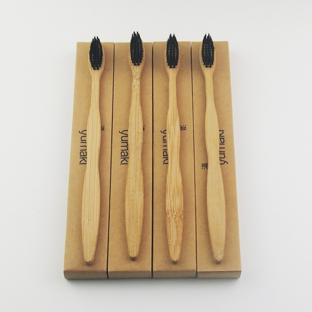 4 Pieces Black 100% Bamboo Toothbrush Wood toothbrush Novelty Bamboo soft-bristle Capitellum Bamboo Fibre Wooden Handle image