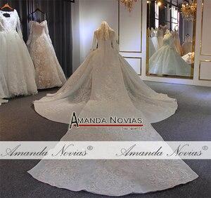 Image 3 - יוקרה כדור שמלת חתונת שמלה ארוך שרוולים mariage 2020 עם מלא ואגלי