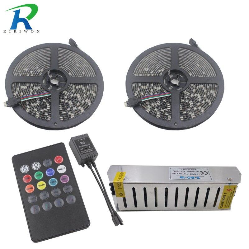 RiRi won New black PCB led strip smd 10M Flexible RGB Led Strip 5050 60Leds Light Tape IR Music Remote Controller 12V 78W Power