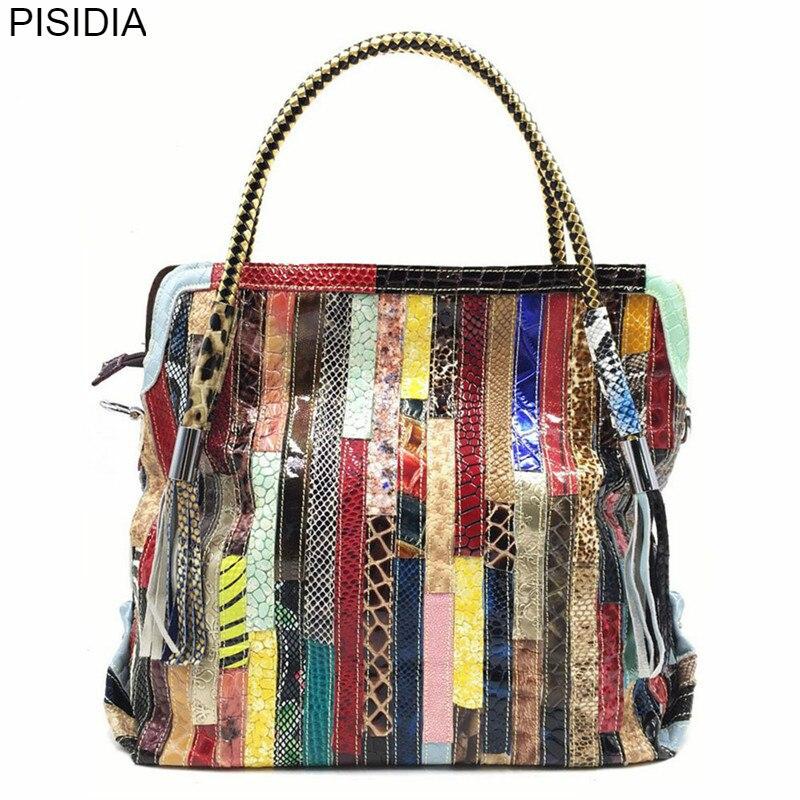 PISIDIA Feminina Bolsa sac à main en cuir véritable femme Patchwork coloré sac à bandoulière sac fourre-tout sacs pour acheteurs