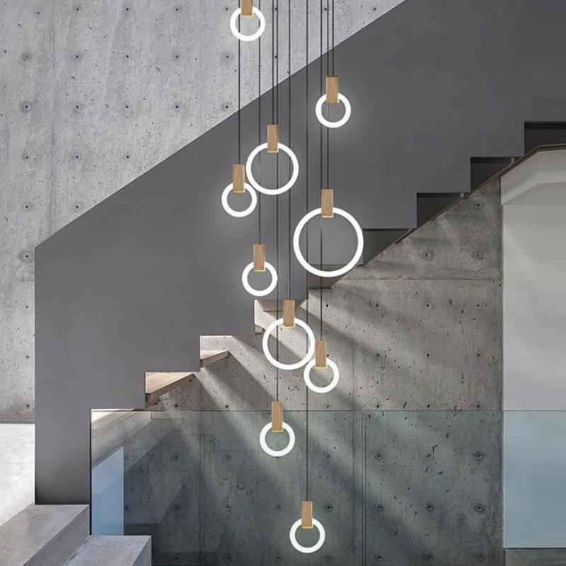 Salon Club Modern LED ring light suspension Luminaire Wood Pendant Lights for Dining Room Bar Stairs Hanging Lamps Pendant Lamps