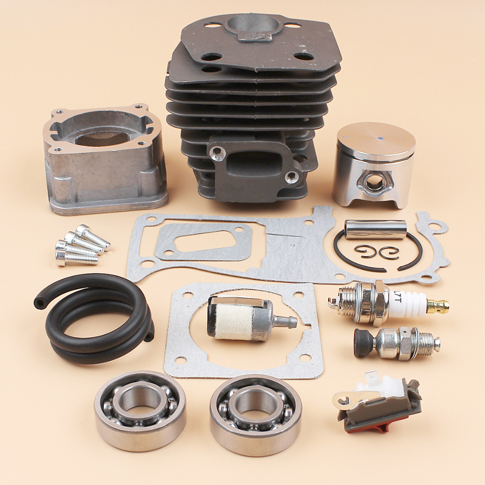44MM Cylinder Piston Pan Bearing Gasket Decompression Valve Kit For HUSQVARNA 340 345 346 350 351 353 Chainsaw Engine Motor Part 44mm cylinder head piston gasket kit for husqvarna 350 346 246xp 351 353 chainsaw 503869971