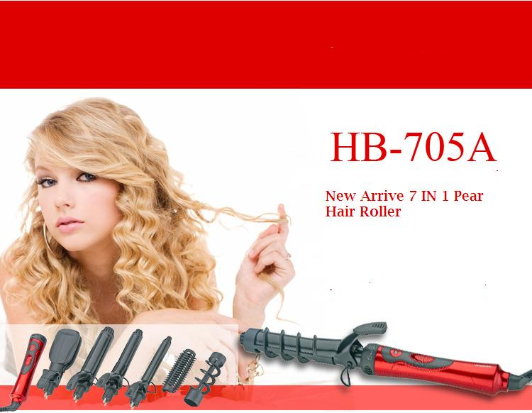 New Arrive 7 IN 1 Pear Hair Roller Electric Large Curler With Hair Straightener Set Multifunctional Curling Iron hair styling multifunctional styling electric 110 240v 5 in 1 styling set hair straighten hair curling iron hair curler roller comb