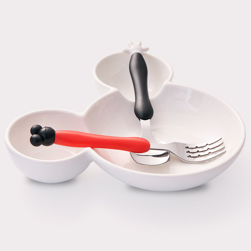 2pcs/Creative portable Mickey Mouse cutlery Fork Spoon Set Stainless Steel children tableware baby spoon