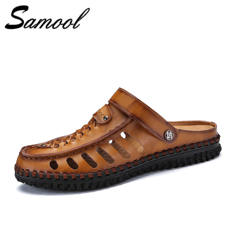 Men Beach Sandals Brand Flip Flops Men Casual Shoes Genuine Leather Sneakers Men Slippers Summer Shoes men sandals shoes k4